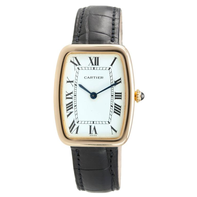 Cartier Yellow Gold Square Incurvee Wristwatch For Sale