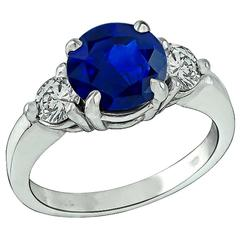Natural 2.66 Carat Sapphire Diamond Engagement Ring