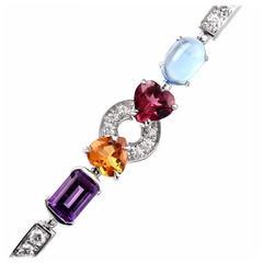 Bulgari Allegra Multigem Diamond Gold Link Bracelet