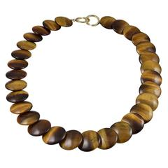 Tiffany & Co. Paloma Picasso Tiger Eye Gold Necklace
