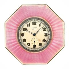 1920s Cartier Sterling Silver and Pink Guilloche Enamel 8-Day Desk Timepiece