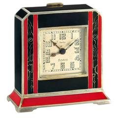Cartier Silver and Red and Black Enamel 8-Day Desk Timepiece, circa 1920s