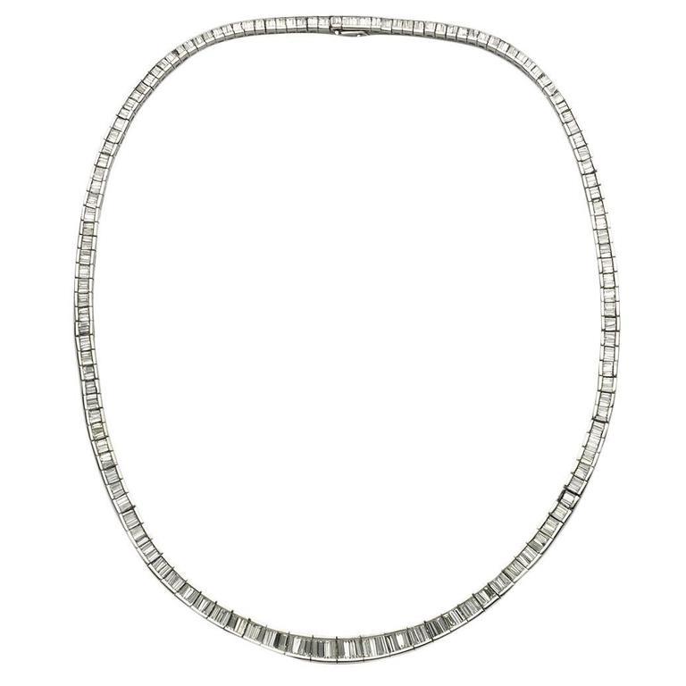 Baguette Diamond Platinum Riviere Necklace 1