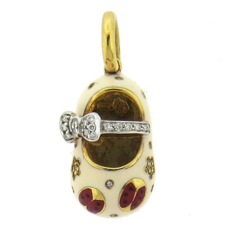 Aaron Basha Enamel Diamond Gold Bow Ladybug Baby Shoe
