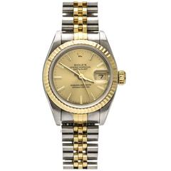 Rolex Lady's Yellow Gold Stainless Steel DateJust Wristwatch