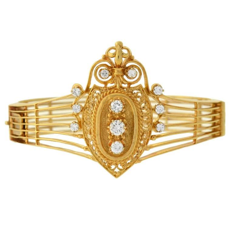 Victorian Revival Diamond Gold Bracelet For Sale