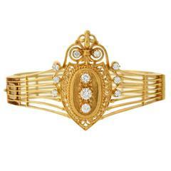 Victorian Revival Diamond Gold Bracelet