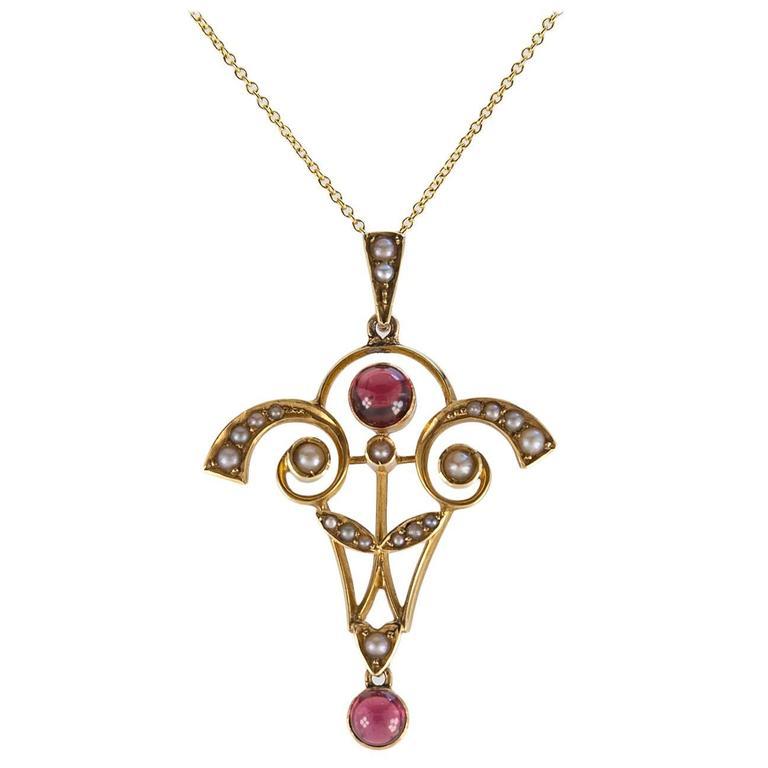 Antique Art Nouveau Pearl Garnet Gold Pendant