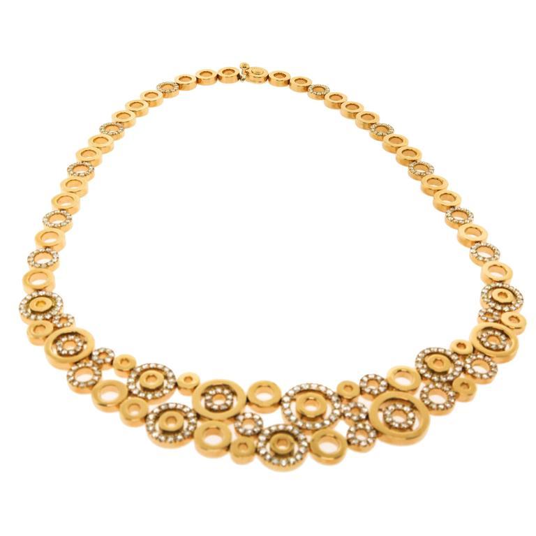 Diamond Gold Circles Necklace