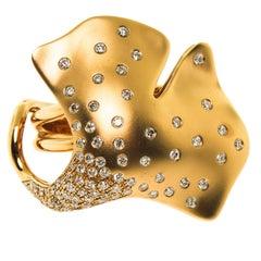 Diamond Gold Ginkgo Leaf Ring
