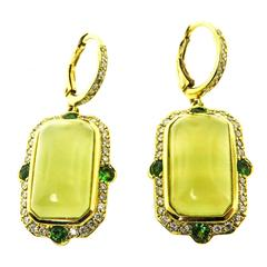 Green Beryl Gold Earrings