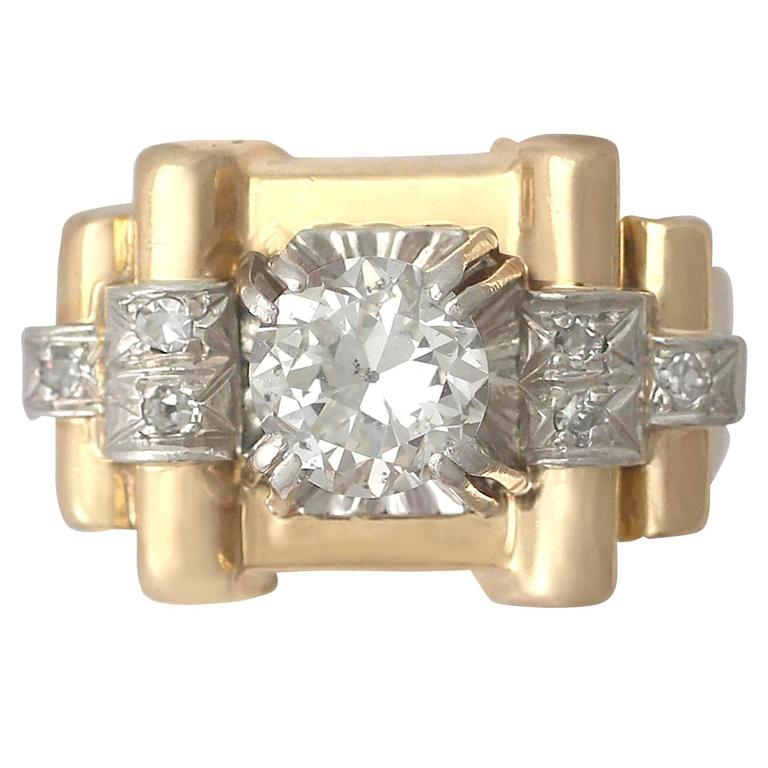 1940s 1.18 Carat Diamond & Yellow Gold Platinum Set Cocktail Ring