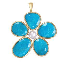 Turquoise Gold Flower Power Reversible Pendant