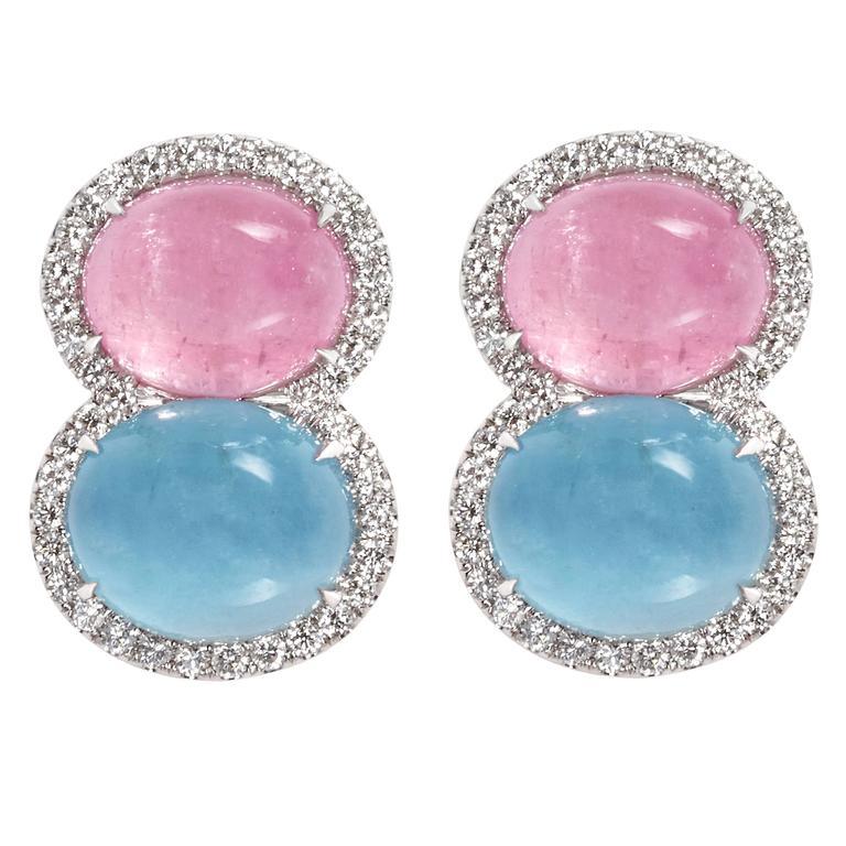 Snowman Pink Tourmaline Aquamarine Diamond Gold Earrings 1
