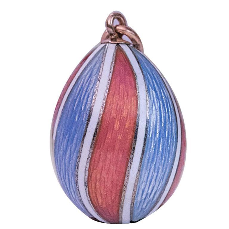 Faberge Antique Guilloche Enamel Miniature Egg Pendant