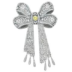 White and Yellow Diamond Bow Brooch