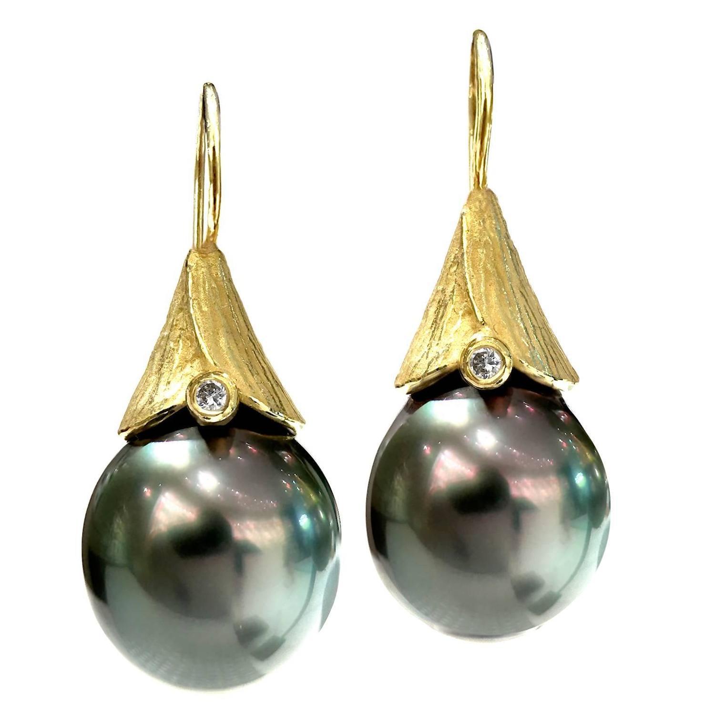 Artisan Earrings : Barbara heinrich tahitian pearl diamond handmade