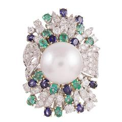 """Pearl Sapphire Emerald Diamond Gold """"Luise"""" Cocktail Ring"""