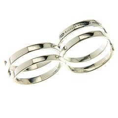 Fabri Infinity Double Loop Adjustable Silver Ring