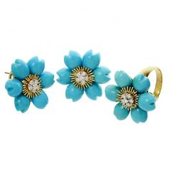 Flower Petal Turquoise Diamond Gold Demi Parure Earrings and Ring