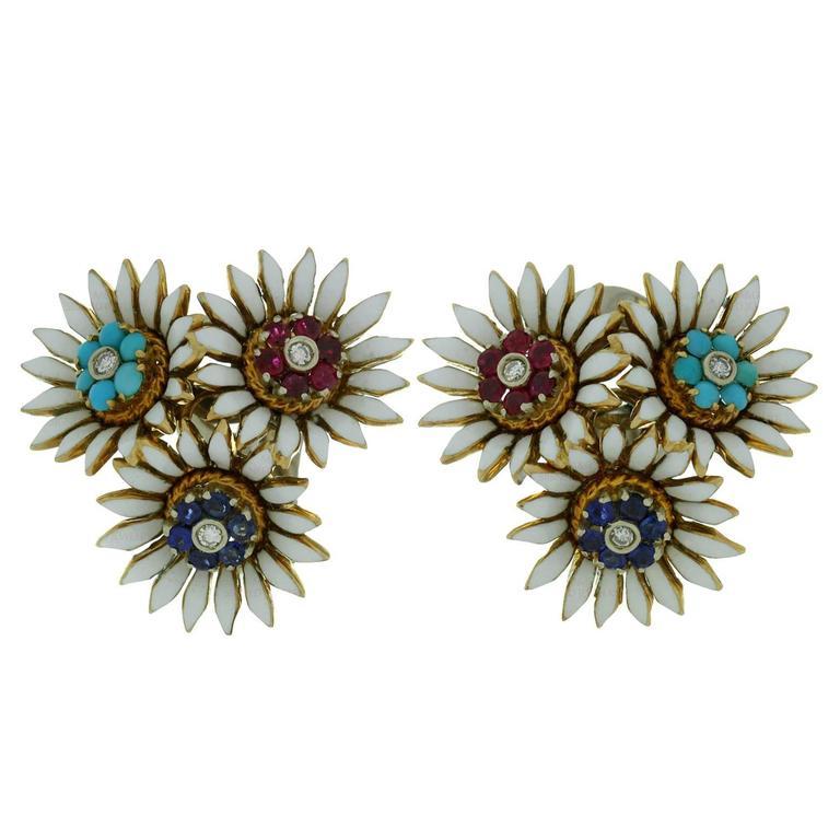 1940s Italian Multicolor Gemstone Enamel Diamond Gold Flower Earrings