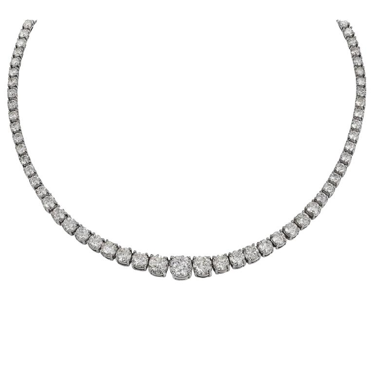 46.86 Carats Graduated Diamonds Platinum Necklace