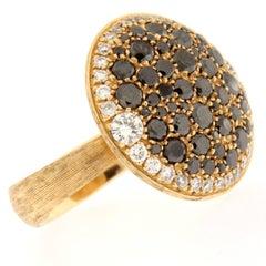 Jona Black Diamond and White Diamond 18 Karat Rose Gold Ring