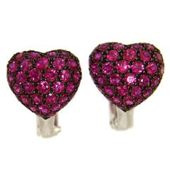 Jona Bombé Heart Ruby 18 Karat White Gold Earrings