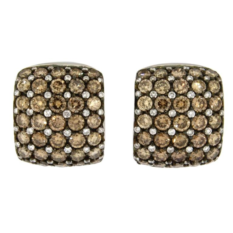 Jona Brown and White Diamond Pavé Gold Clip-On Earrings
