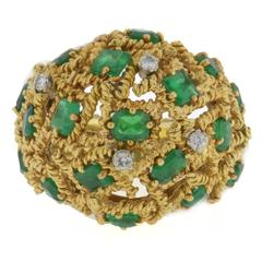 Mid Century Modernist Emerald Diamond Gold Dome Ring