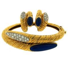 1970s Van Cleef & Arpels Lapis Lazuli Diamond Gold Earrings and Bracelet Set