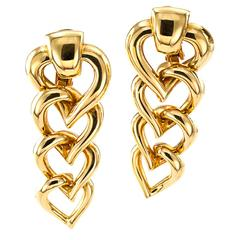 Mellerio Gold Heart Drop Earrings