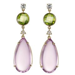 Phinda Kunzite Peridot Diamonds Gold Earrings