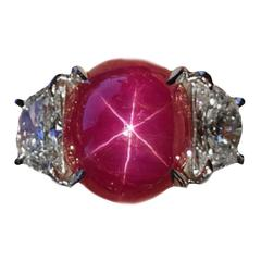 6.19 Carat Burma Star Ruby Diamond Platinum Ring