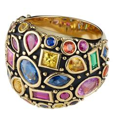 Ari Ruby Sapphire Emerald Gold Band Ring