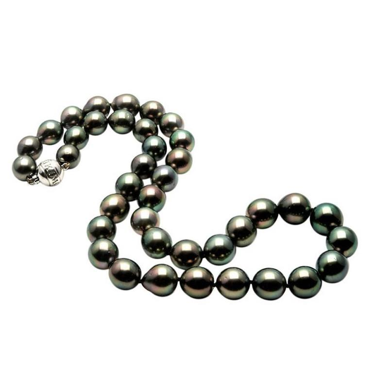 Mikimoto Tahitian Black South Sea Pearl Gold Necklace For Sale