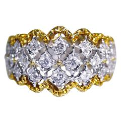 Buccellati Diamond Two Color Gold Band Ring