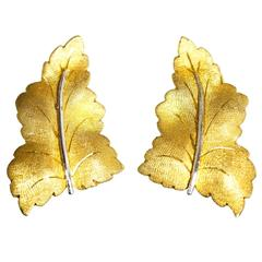 Buccellati Two Color Gold Leaf Earclips