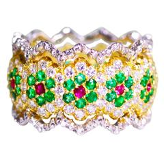 Buccellati Emerald Ruby Diamond Gold Band Ring