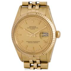 Rolex Yellow Gold Oyster Perpetual Date Wristwatch Ref 15037