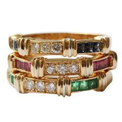 Cartier Psychee Three Gemstone Diamond Gold Stacking Rings