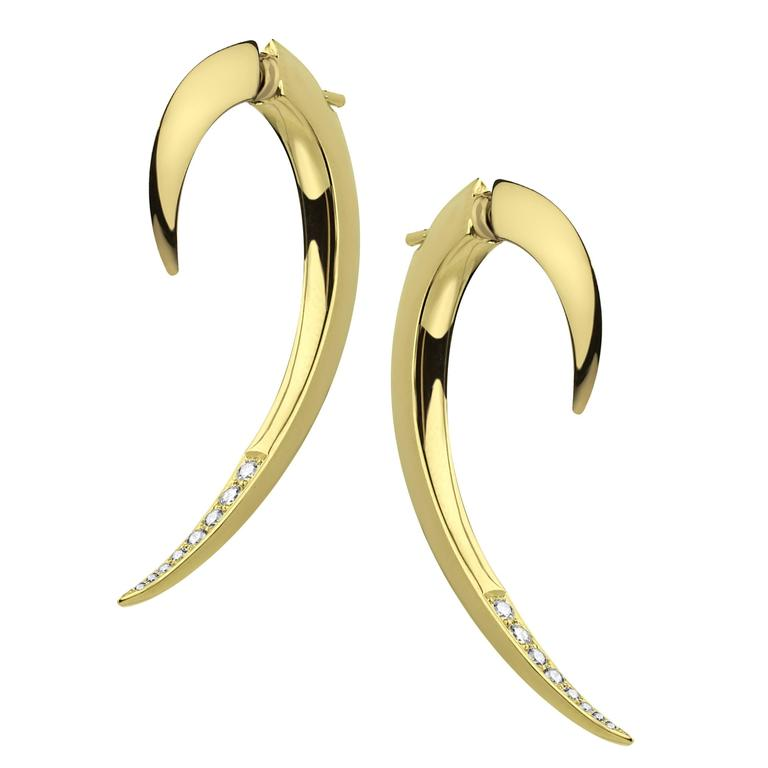 Shaun Leane Yellow Dold Vermeil and Diamond Size 0 Hook Earrings
