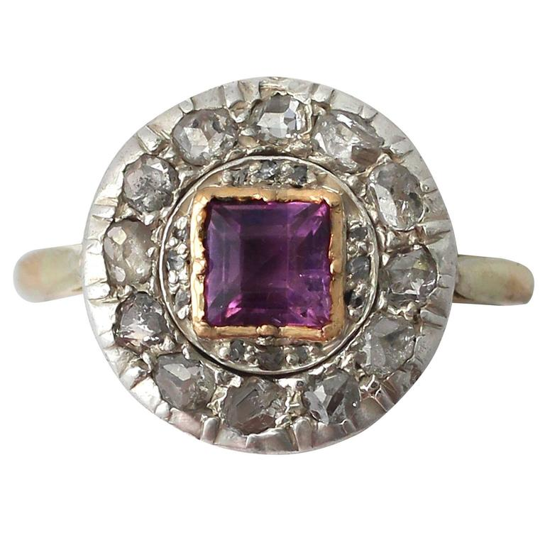 1910s Antique Amethyst & Diamond Yellow Gold Cocktail Ring