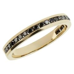 Black Diamond Gold Half Eternity Ring