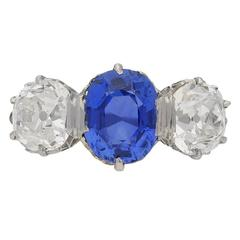 1905 Edwardian Sapphire Diamond Platinum Three Stone Ring