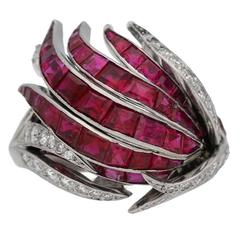 1950 French Ruby Diamond Platinum Ring