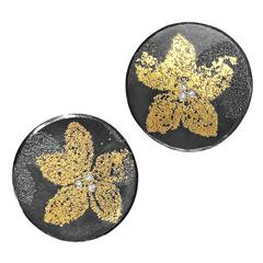 2015 Atelier Zobel Germany Diamond Gold Petal Post and Clip Earrings