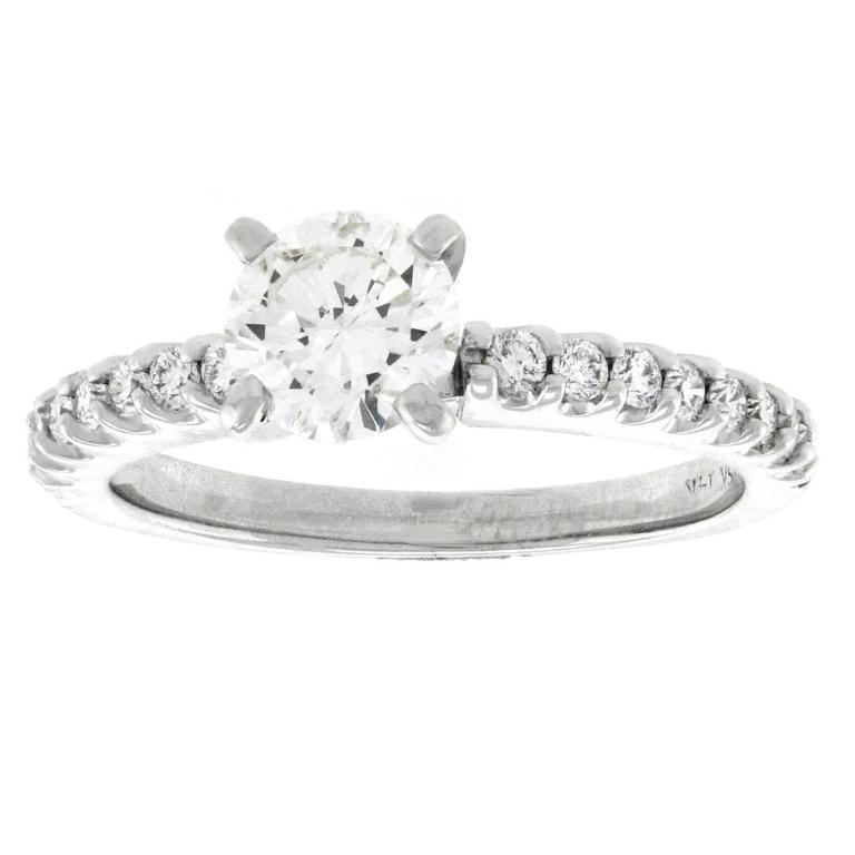 .76 Carat Diamond White Gold Engagement Ring For Sale