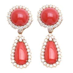 Coral Diamond Ear Pendants
