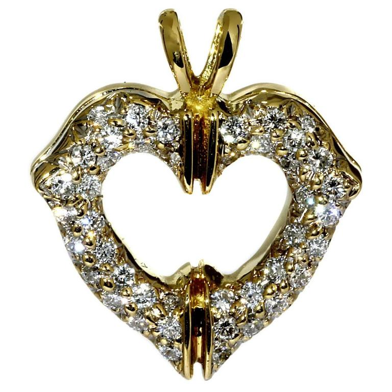 Cartier Diamond Gold Heart Necklace Pendant